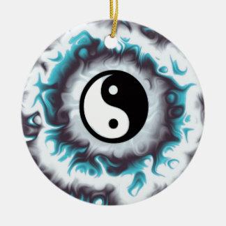 Ornement Rond En Céramique Flamme de Yin Yang Teal