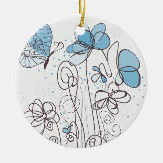 Ornement Rond En Céramique Fleur bleue