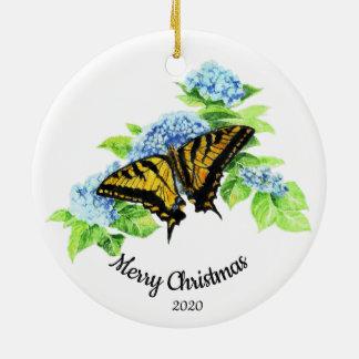 Ornement Rond En Céramique Fleur datée de Hydrengea de papillon de Noël de