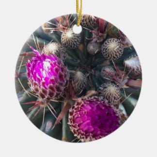 Ornement Rond En Céramique Fleur de cactus