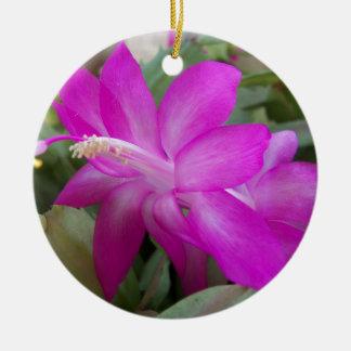 Ornement Rond En Céramique fleur de cactus de Noël 003a