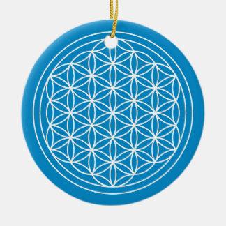 Ornement Rond En Céramique Fleur de cercle de bleu de la vie