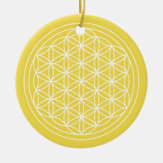 Ornement Rond En Céramique Fleur de cercle de jaune de la vie