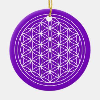 Ornement Rond En Céramique Fleur de cercle de pourpre de la vie