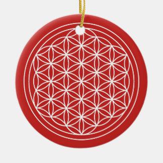 Ornement Rond En Céramique Fleur de cercle de rouge de la vie