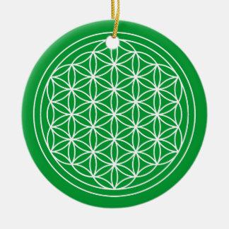 Ornement Rond En Céramique Fleur de cercle de vert de la vie