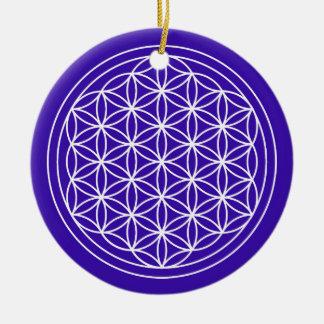 Ornement Rond En Céramique Fleur de cercle d'indigo de la vie