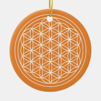 Ornement Rond En Céramique Fleur de cercle d'orange de la vie