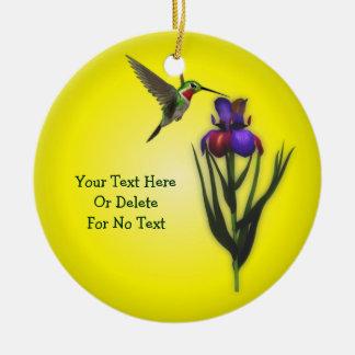 Ornement Rond En Céramique Fleur de colibri et d'iris personnalisée