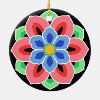 Ornement Rond En Céramique Fleur de Dancheong de Coréen