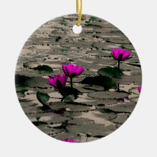Ornement Rond En Céramique Fleur de Lotus