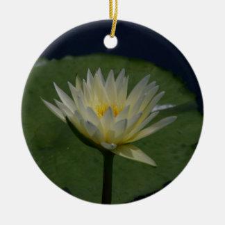 Ornement Rond En Céramique Fleur de nénuphar de Lotus blanc