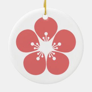 Ornement Rond En Céramique Fleur de Sakura