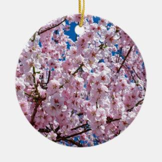 Ornement Rond En Céramique Fleur japonaise de cerise