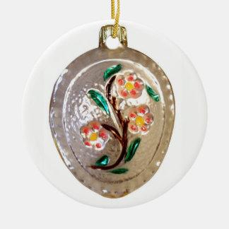 Ornement Rond En Céramique Fleurs d'arbre fruitier