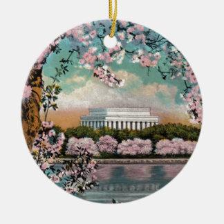 Ornement Rond En Céramique Fleurs de cerisier