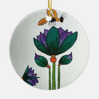 Ornement Rond En Céramique Fleurs de Lotus avec l'abeille