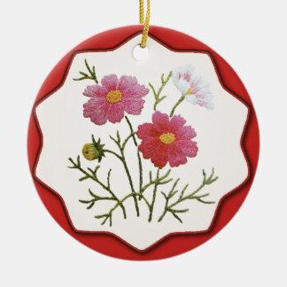 Ornement Rond En Céramique Fleurs vintages sur le guingan