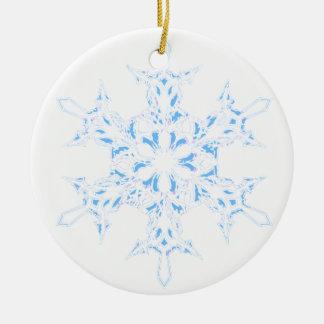 Ornement Rond En Céramique Flocon de neige
