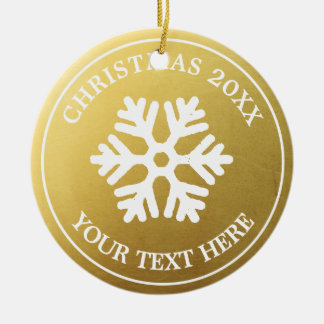 Ornement Rond En Céramique Flocon de neige rustique de Noël d'or fait sur