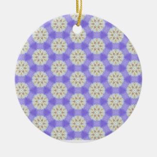 Ornement Rond En Céramique Flocons de neige floraux 1