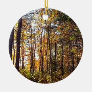 Ornement Rond En Céramique Forêt d'automne du New Hampshire
