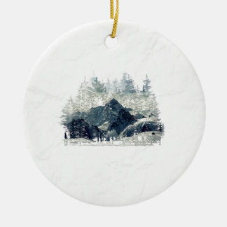 Ornement Rond En Céramique Forêt d'hiver