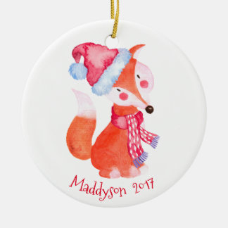 Ornement Rond En Céramique Fox de Noël d'aquarelle personnalisé