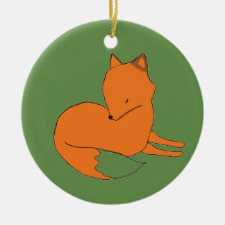 Ornement Rond En Céramique Fox d'ornement de Fox rouge