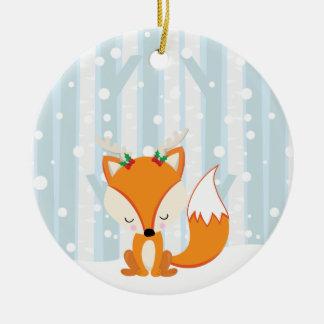 Ornement Rond En Céramique Fox mignon de région boisée de Noël