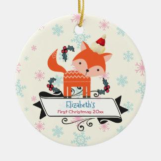 Ornement Rond En Céramique Fox orange de premier Noël dans la coutume de