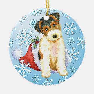 Ornement Rond En Céramique Fox Terrier heureux de fil de Howliday