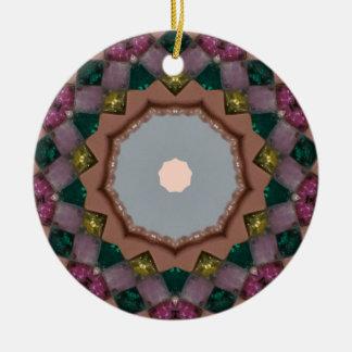 Ornement Rond En Céramique Fractale de lumières de Noël
