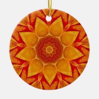 Ornement Rond En Céramique Fractale d'or de pluie de Noël