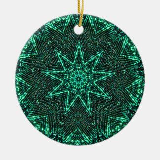 Ornement Rond En Céramique Fractale lumineuse d'étoile