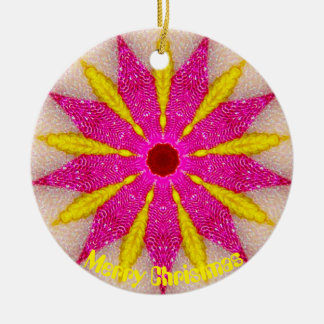 Ornement Rond En Céramique Fractale rose et jaune de Pointsettia