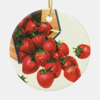 Ornement Rond En Céramique Fraises vintages dans le panier, baies de fruit de