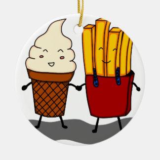 Ornement Rond En Céramique Fritures et crème glacée