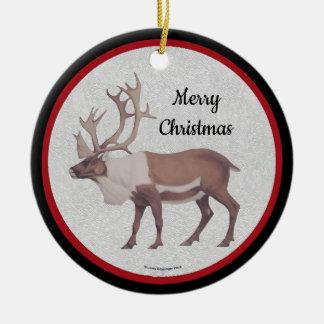 Ornement Rond En Céramique Frontière noire rouge de renne de caribou