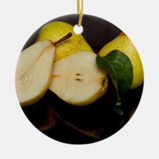 Ornement Rond En Céramique Fruit vert frais de poires