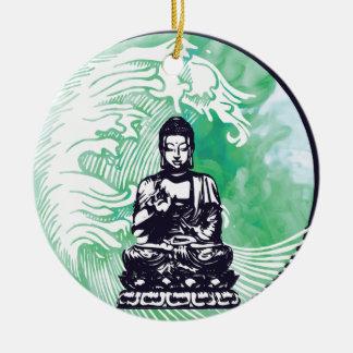 Ornement Rond En Céramique Fumée d'émeraude de vague de Bouddha d'ouragan