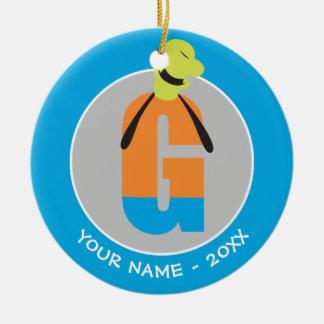 Ornement Rond En Céramique G est pour Goofy   ajoutent votre nom