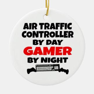 Ornement Rond En Céramique Gamer de contrôleur de la navigation aérienne