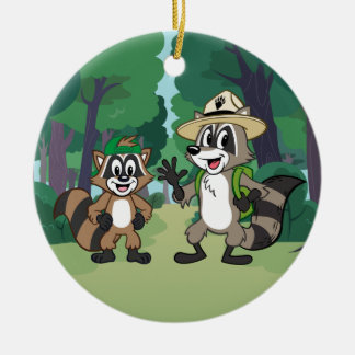 Ornement Rond En Céramique Garde forestière Rick et Ricky de Rick   de garde