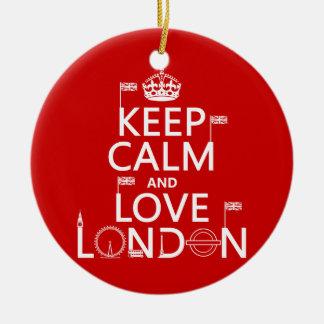 Ornement Rond En Céramique Gardez le calme et aimez Londres