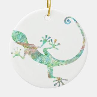Ornement Rond En Céramique Gecko