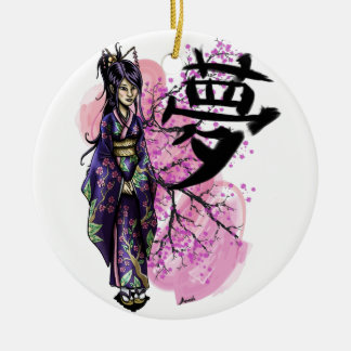 Ornement Rond En Céramique Geisha