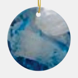 Ornement Rond En Céramique gemme de couleur bleue