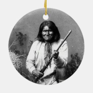 Ornement Rond En Céramique Geronimo indien indigène iconique historique