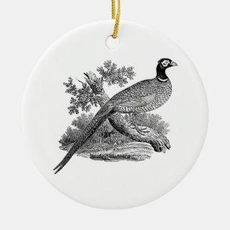 Ornement Rond En Céramique Gibier à plumes vintage de faisan dessinant BW